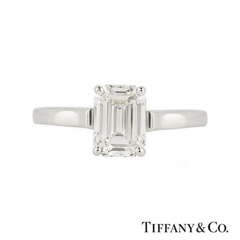 Tiffany Co Platinum Lucida 2mm Wedding Band Ring Sz 8: Tiffany & Co. Emerald Cut Diamond Ring In Platinum 1.56ct